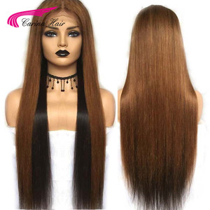 Image 1 - Carina Brazilian Lace Front Human Hair Wigs Pre plucked 13*3 Ombre 1b/33  Remy Hair Lace Wigs With Highlights