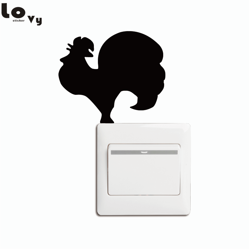 Rooster Crowing on Light Switch Sticker (3.5