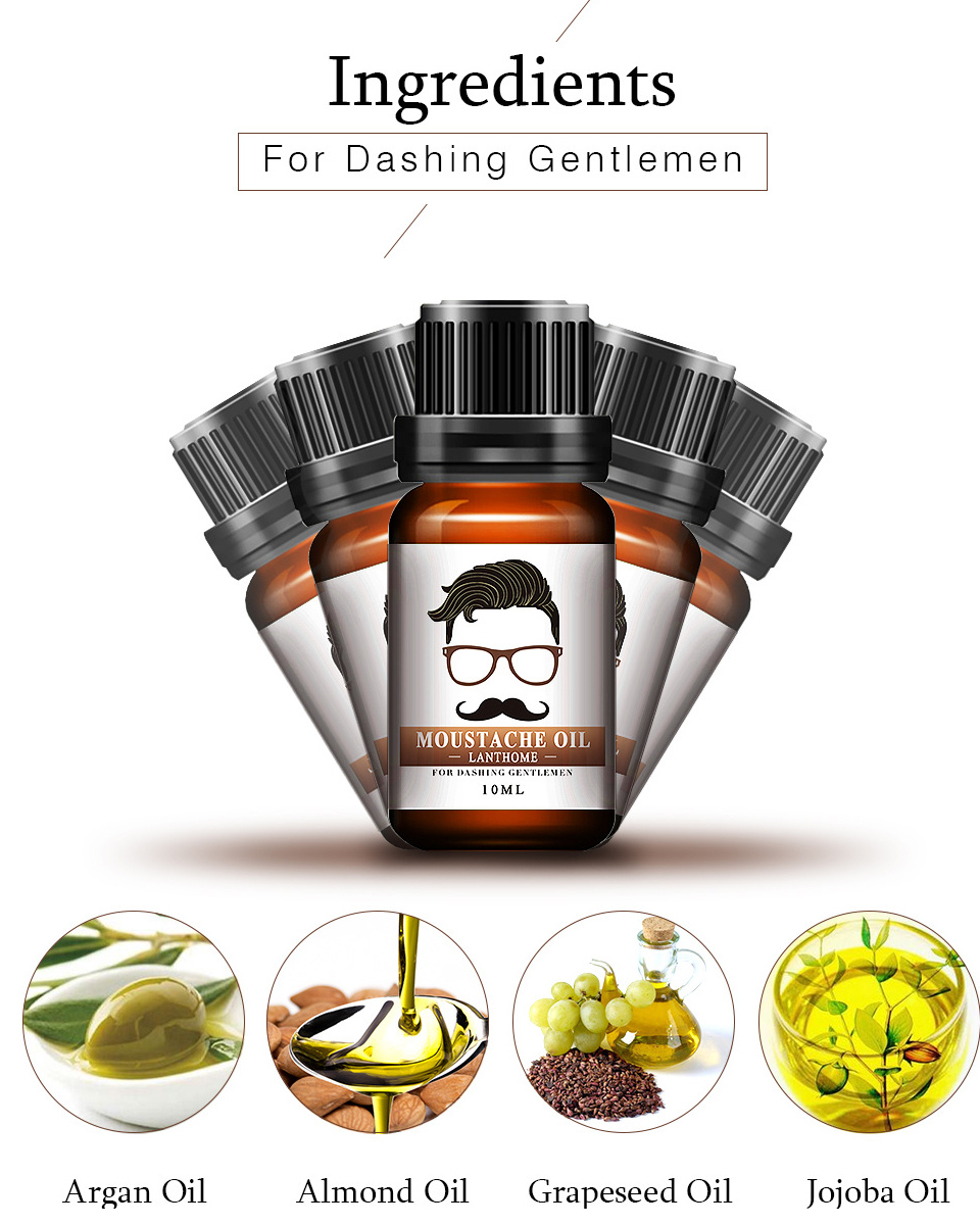 Купить с кэшбэком 10ml Gentlemen Beard Oil Moisturizes Facial Hair Moustache Oils Pure Organic Beard Oil Growth Men Face Thicker Essential Oil