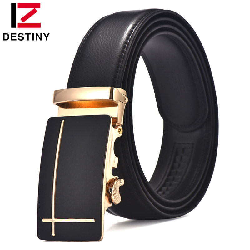 DESTINY Cow Leather Belt Men Högkvalitativ Metal Automatic Buckle Berömd Brand Designer Fashion Strap Male Ceinture Homme Jeans