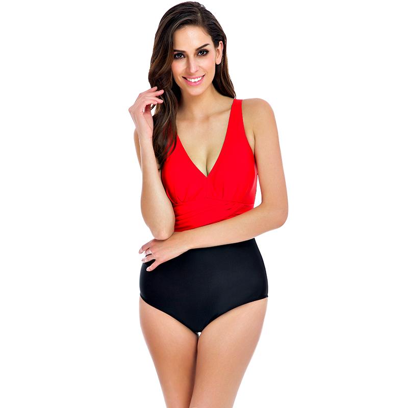 2017 v ausschnitt Frauen Badeanzug Sexy Plus Size Bademode Weibliche ...