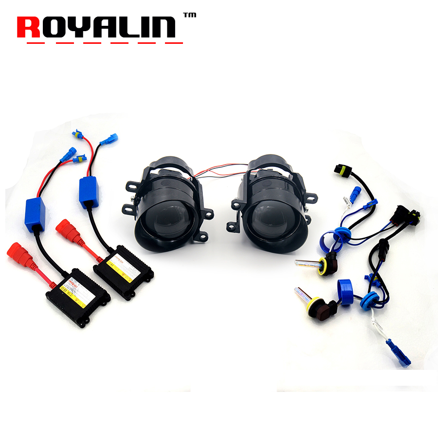 ROYALIN For Camry Fog Lights Lens Kit Car Bi Xenon H11 Lamp Projector Ignition Ballast for Toyota Corolla Peugeot Citroen Prius taochis auto 3 0 inch hid bi xenon projector lens fog light for toyota corolla camry rav 4 lexus vios prius highlander h11