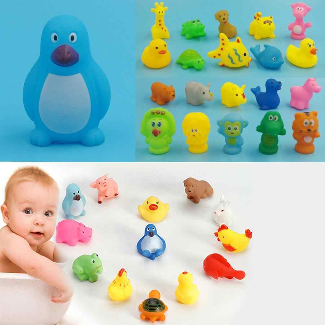 Mixed Cartoon Animals Swimming Water Toys Colorful Soft Floating Rubber Duck Squeeze Sound Squeaky Bathing Toy For Baby kids