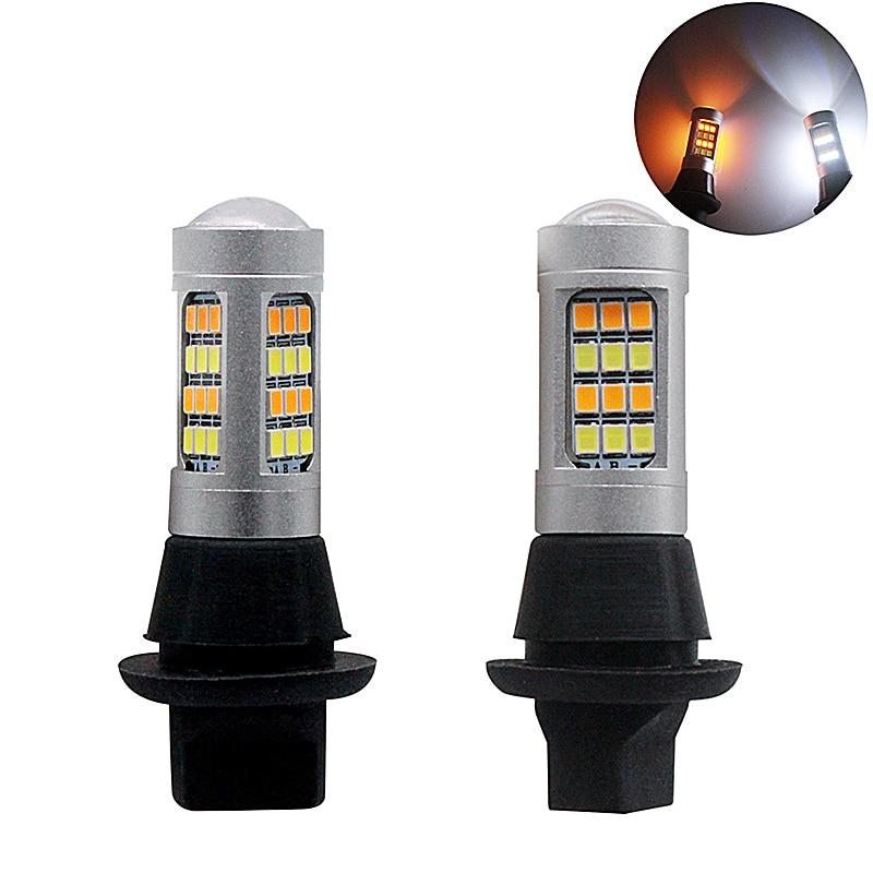 купить 2pcs BA15s BAY15S 1156 1157 T25 T20 7443 2835 42SMD 20W Dual Color For Daytime Running Light DRL & Turn Light Signal Lamps онлайн