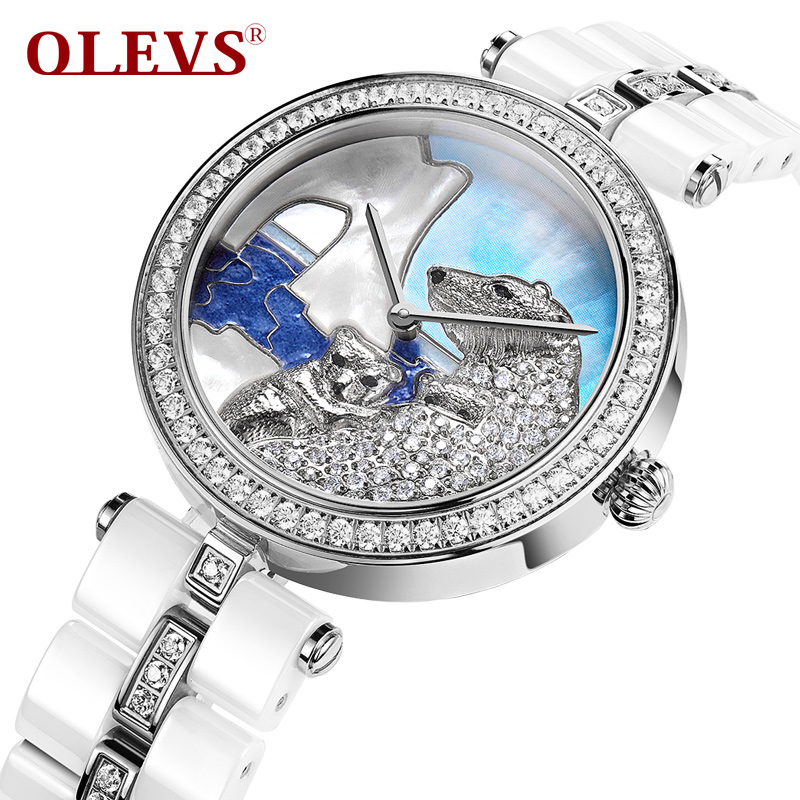 OLEVS authentic watches Ms fashion of ceramic watch quartz watch Waterproof shell surface between diamond gold female table wireless restaurant calling system 5pcs of waiter wrist watch pager w 20pcs of table buzzer for service