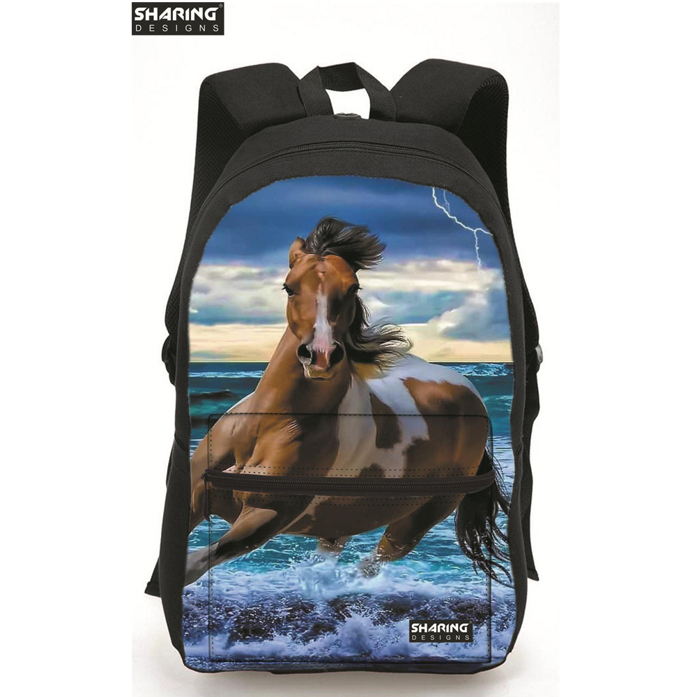 Animal Children School Bags Horse Printing Backpack For Men Women Casual Laptop Shoulder Bags Students Cotton Schoolbag Mochila