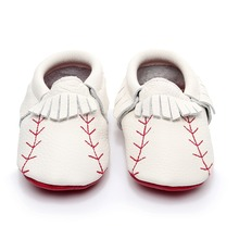 Baby Moccasins Shoes Boot First Walker Baseball Genuine-Leather Fashion Tassel Sole Red