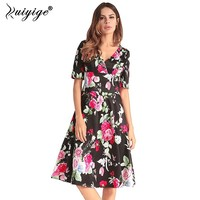 Ruiyige Summer Women Vintage 1950s 60s Floral Print Dress Party V Neck Rockabilly Retro Holiday Back
