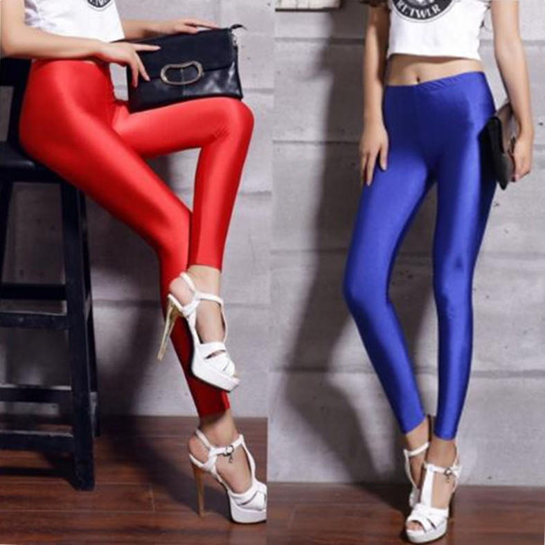 Women's Black Blue Lycra Polyester Leggings Neon Spandex Leggings Ladies High Waist Stretch Skinny Shiny Spandex Leggings Women