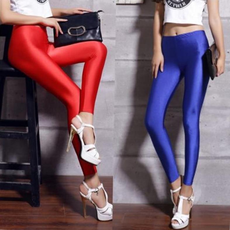 Women's Black Blue Lycra Polyester Leggings Neon Spandex Leggings Ladies High Waist Stretch Skinny Shiny Spandex Leggings Women