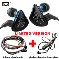 KZ ES3 DD BA Hybrid Dynamics Armature Drivers Bluetooth Earphone Set With 2 Cable Sport Headphone