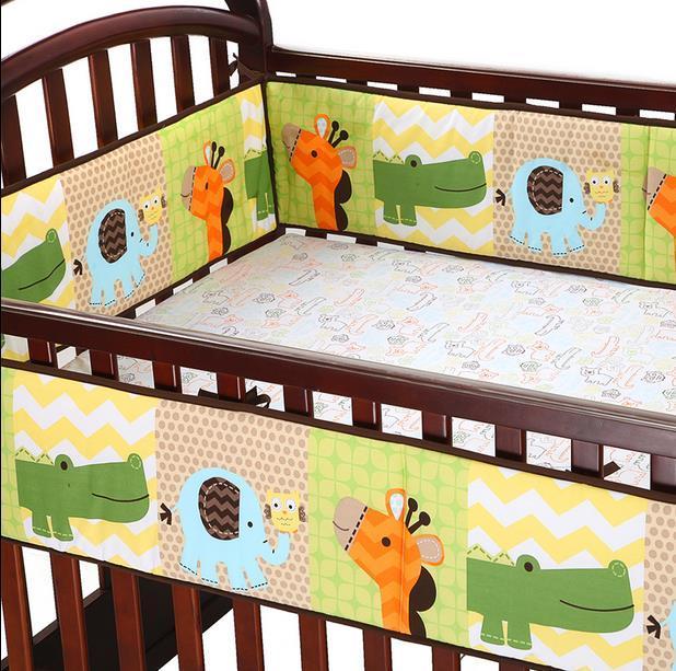 5Pcs /Set Cotton Cartoon Animals Pink Baby Bedding Set  Bumper Bed Li  Kawaii Baby Bumper Crib  Baby Bedding