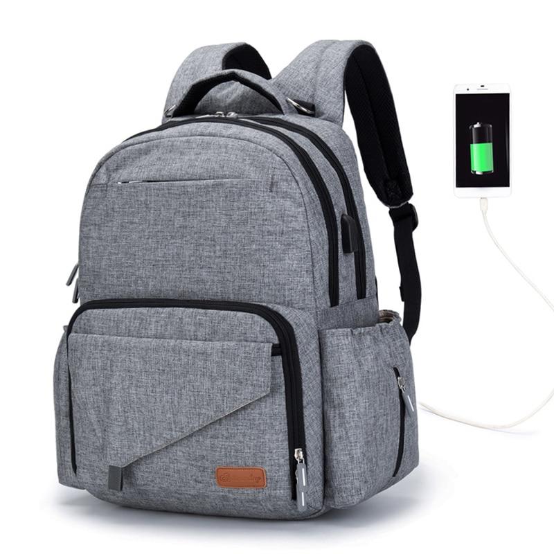 2019 Diaper Bag Daddy Backpack Baby Stroller Bag Waterproof Nylon Handbag Nursing Nappy Bag USB Design