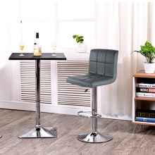 JEOBEST 2PCS Grey PU Leather Swivel Bar Stools Chairs Height Adjustable Counter Pub Chair Barstools Modern Style HWC(China)