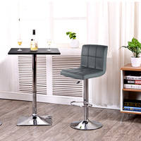 JEOBEST 2PCS Grey PU Leather Swivel Bar Stools Chairs Height Adjustable Counter Pub Chair Barstools Modern Style HWC