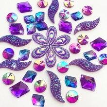 Смешанные формы зеркальные Фиолетовые AB драгоценные камни пришитые Стразы хрустальные Каменные Бусины для рукоделия одежды украшения для свадебного платья 90 шт