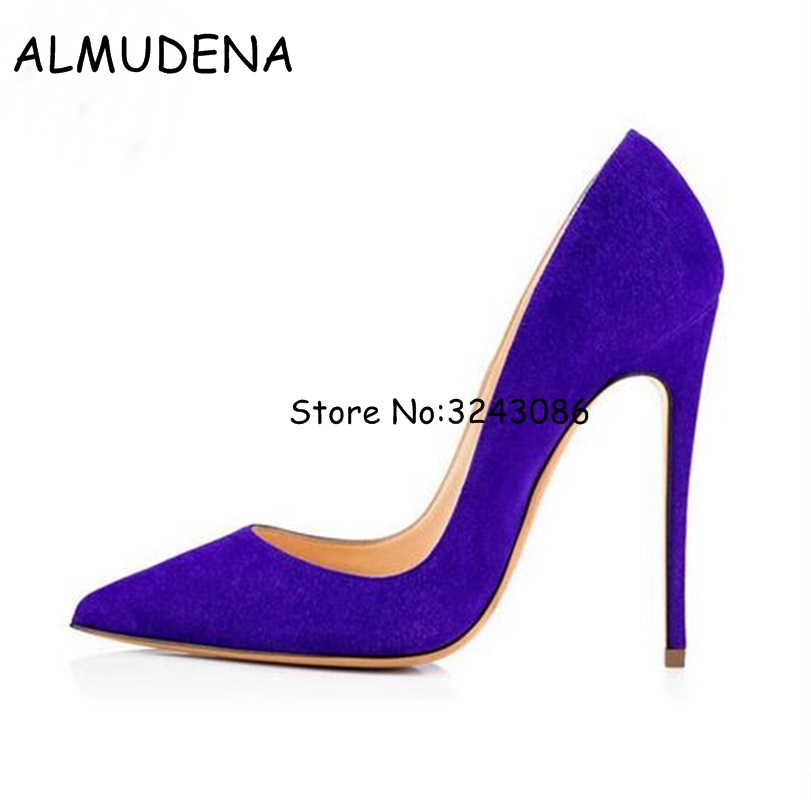 Purple Black Blue Suede Thin Heel Lady Pumps Shoes Wedding Party Dress Woman Shoes Pointed Toe Stiletto High Heels Shoes Slip-on burgundy gray saphire blue pink women dress party career work shoes flock shallow mouth stiletto thin high heel pumps