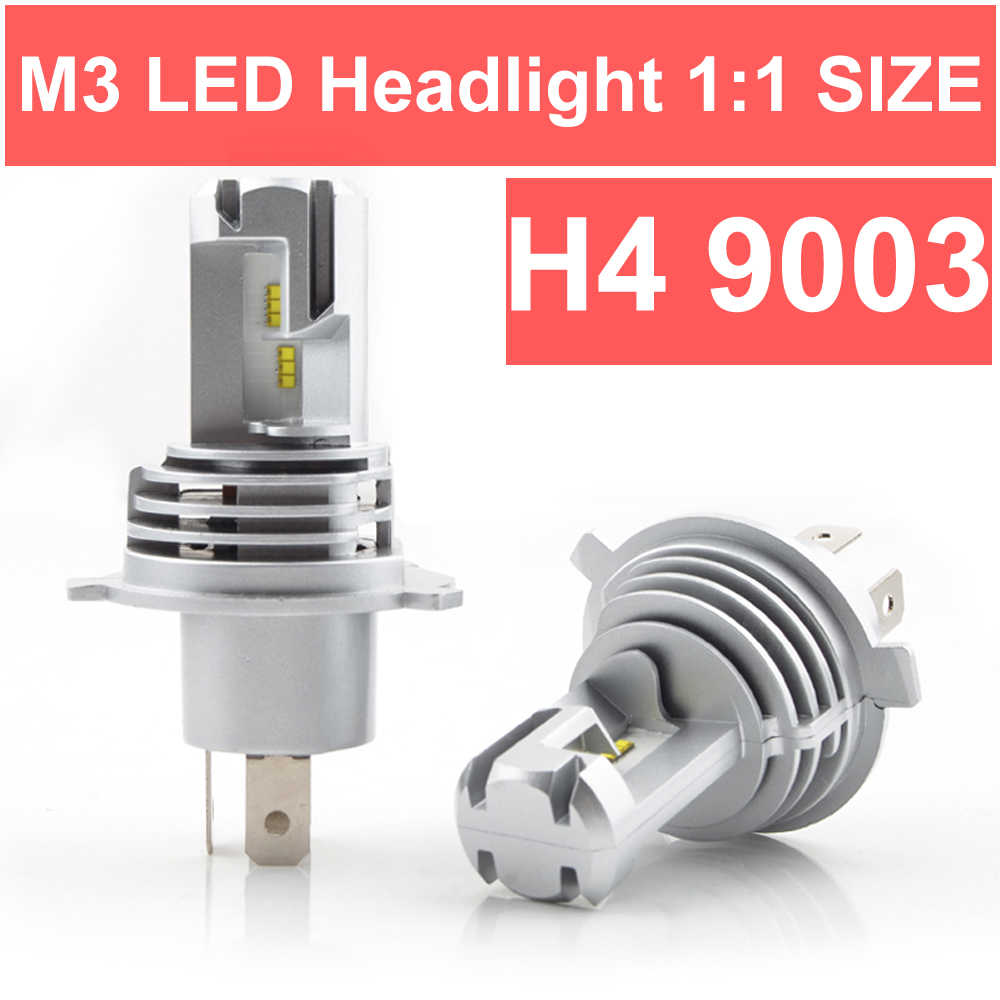 1 Set MINI SIZE ZES CHIPS H4 9003 M3 LED Headlight SMALL 1:1 Bulb Cutting Line Dual Beam Turbo Fan 50W 8000LM 6K LUMILED LAMPS