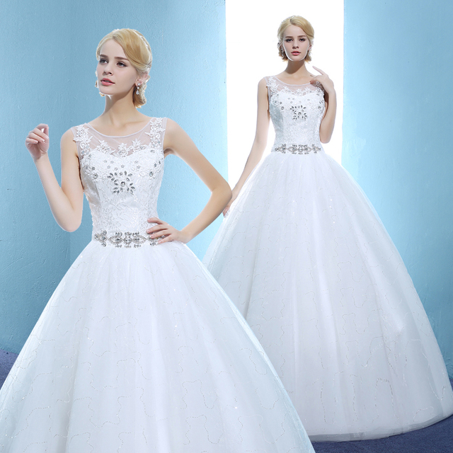 Us 70 0 2017 New Stock Plus Size Women Bridal Gown Wedding Dress Ball Gown Bling Long Cheap Simple Floor Length Custom Made Princess 014 In Wedding