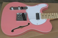 Custom guitar factory Newest Custom pink color TL hollow body jazz left hand electric guitar