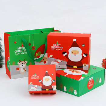 24pcs Creative Christmas Gift Box Candy Baking Packages Carton Party Favors Santa Claus Gift Bag With Handle