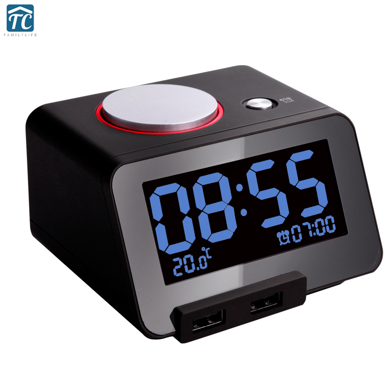 Electronic Alarm Clock Desk Led Luminous Band Mute Thermometer Usb Charge Oversized Control LED Electronic Desktop Digital