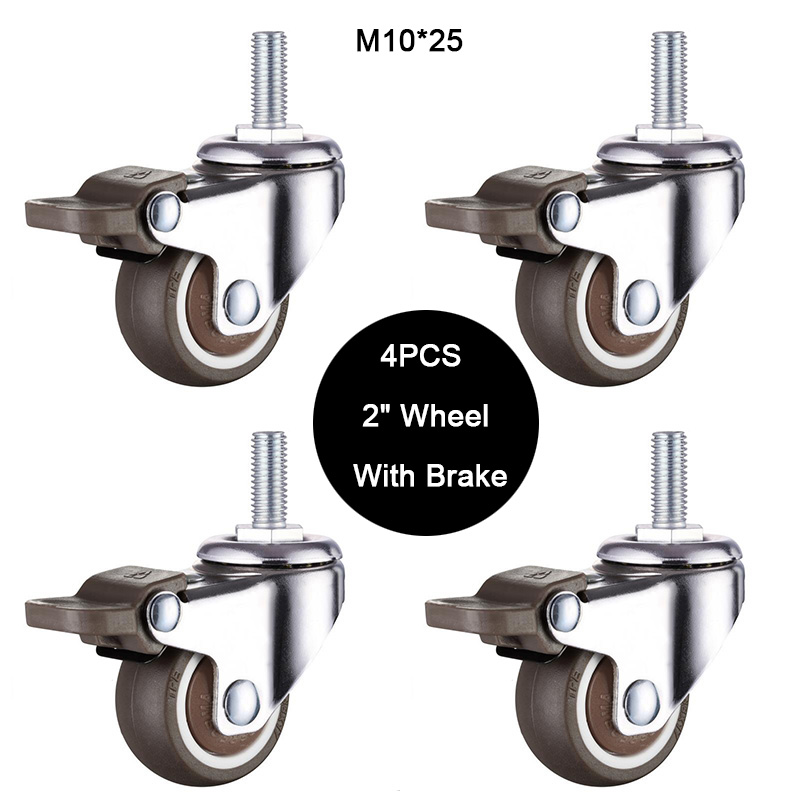 4PCS 2 Mute Wheel With Brake Loading 35kg Replacement Swivel Casters Rollers Wheels M10*25 Screw Rod JF1590