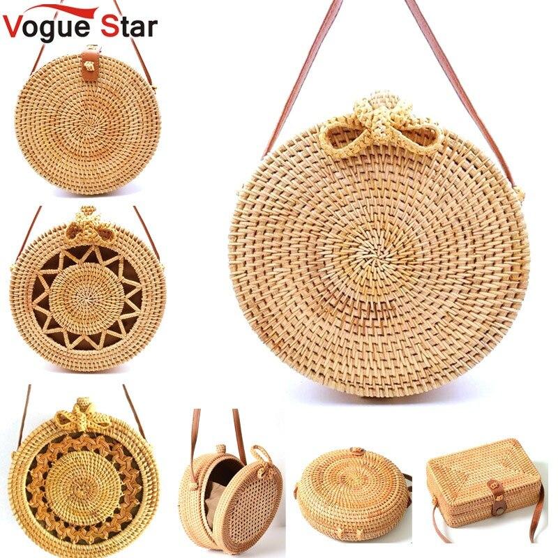 Ronda de 2018 Bolsas de paja del verano de las mujeres de mimbre bolso hecho a mano tejido de playa Cruz cuerpo bolsa círculo Bohemia bolso Bali precio más bajo l31