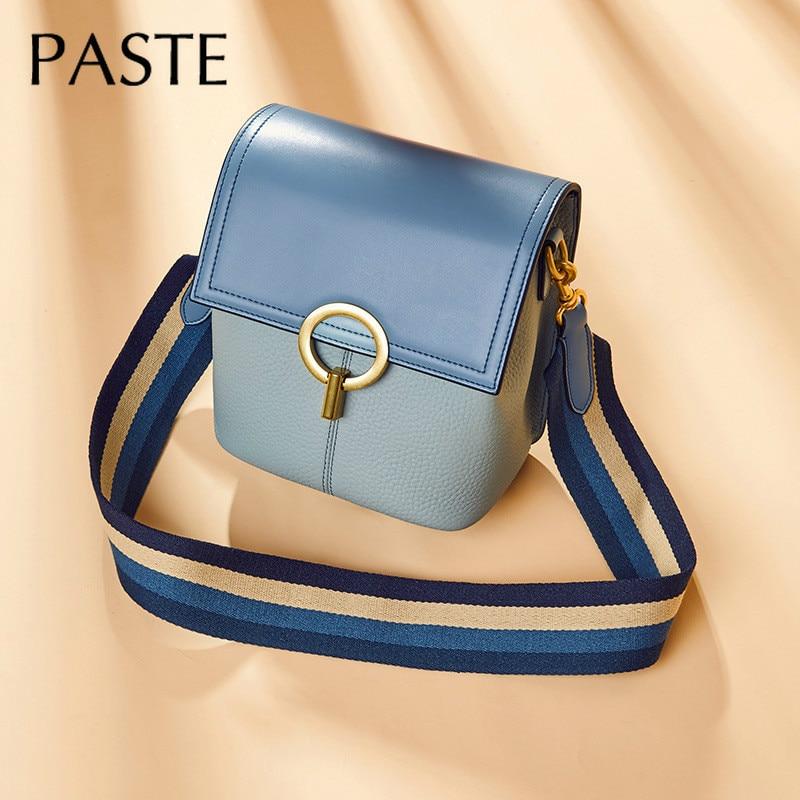 2019 Summer Real Leather Bucket Bag Wide Strap Shoulder Bag 100 Natural Cowhide Leather Female Messenger