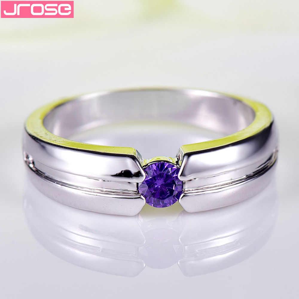 JROSE סיטונאי אופנה עגול סגול לבן מעוקב Zirconia לבן כסף מצופה טבעת גודל 6 7 8 9 10 נשים חתונה טבעת תכשיטים