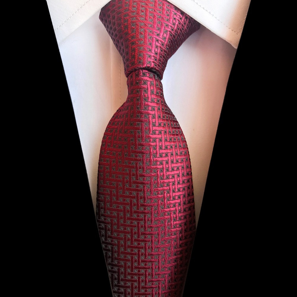 Pattern Men/'s Ties Classic Jacquard Woven Silk Tie Suits Necktie Red Black S014