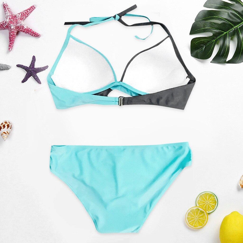 HTB1R.3wV9zqK1RjSZFLq6An2XXa4 7 Colors Womens Padded Push-up Bra Tankini Bikini Set 2019 Swimsuit Low Waist Bathing Suit Swimwear Two Pieces Halter Beachwear