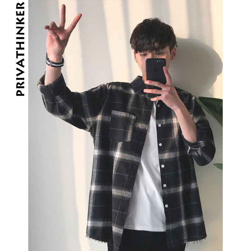 Privathinker Plaid Shirts Oversized Long Sleeve Shirt Men Women Casual Plaid Flannel Burr Shirts Harajuku Male Strip Shirts