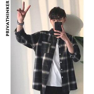 Image 1 - Privathinker Plaid Shirts Oversized Long Sleeve Shirt Men Women Casual Plaid Flannel Burr Shirts Harajuku Male Strip Shirts