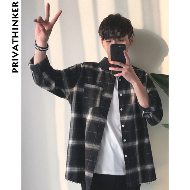 Privathinker Plaid Shirts Oversized Long Sleeve Shirt Men Women Casual Plaid Flannel Burr Shirts Harajuku Male Strip Shirts
