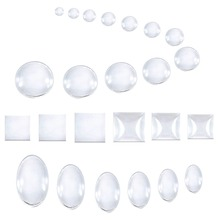 Купить с кэшбэком 50pcs 25mm*25mm Clear Round Domed Magnifying Round Glass Cabochons For Pendant Tray Cabochon Setting DIY Jewellry Findings