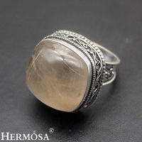 HERMOSA Jewelry Unique Fashion Natural Rutilated Quartz 925 Sterling Silver Three Stone Beautiful Ring Size 8