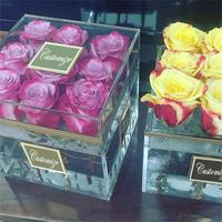New Clear Acrylic Rose Flower Box Makeup Organizer Cosmetic Holder Flower Gift Boxes For Girlfriend Wife Without Flowers