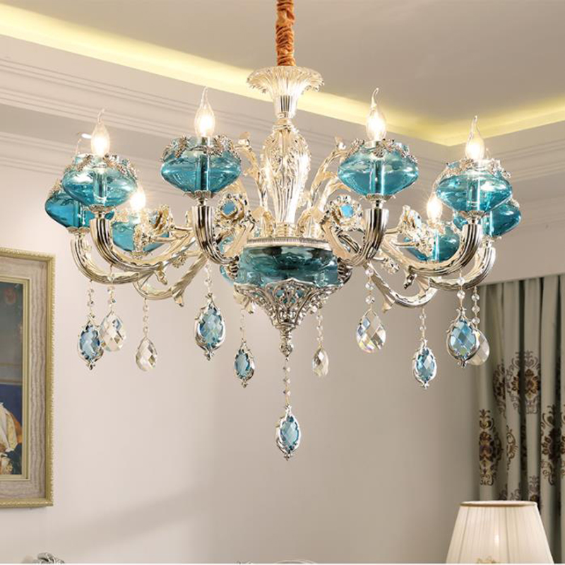 European style LED crystal Chandelier lights luxury blue drop lights creative zinc alloy living room bedroom LED Chandelier lamp цена