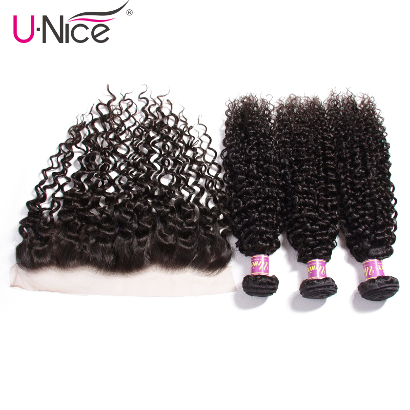 Unice Hair Malaysian Hair Bundles With Lace Frontal 4 PCS 100 Curly Weave Human Hair Extension