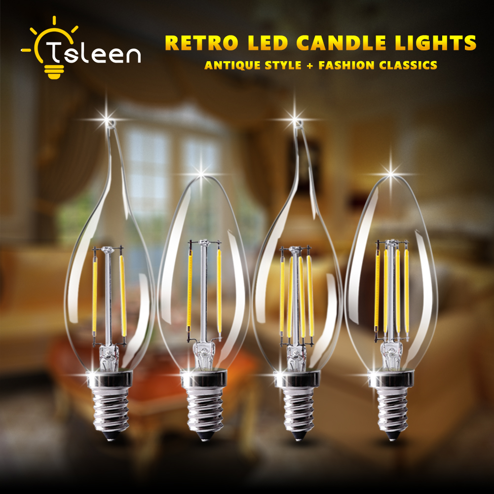 TSLEEN Free Shipping! 10PCS LED Candle Bulb E14 Vintage C35 Filament Light Bulb E12 LED Edison Globe Lamp 220V 110V Glass 4W 8W