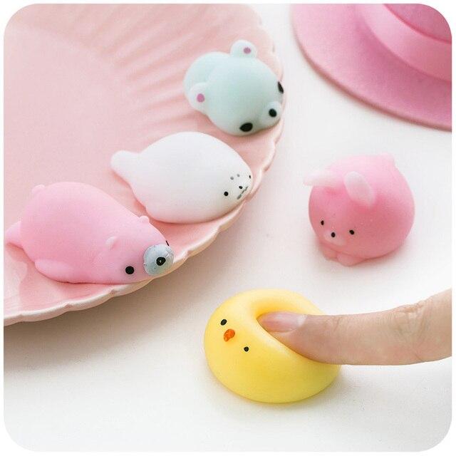 Lindo Animal Mini blando de juguete antiestrés pelota de compresión juguetes de aumento abreaction suave pegajoso Squishi alivio de estrés juguetes regalo divertido