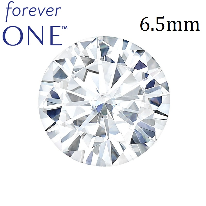 Certified Charles Colvard FOREVER ONE 1 Carat Round Brilliant Cut White Moissanite Diamo ...