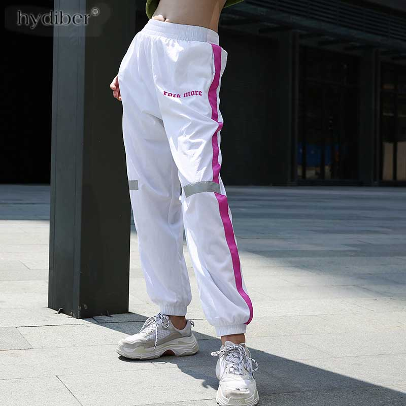 white Streetwear Women Harem   Pants     Capri   Patchwork Casual Loose Long Trousers 2018 Summer Drawstring Female Joggers