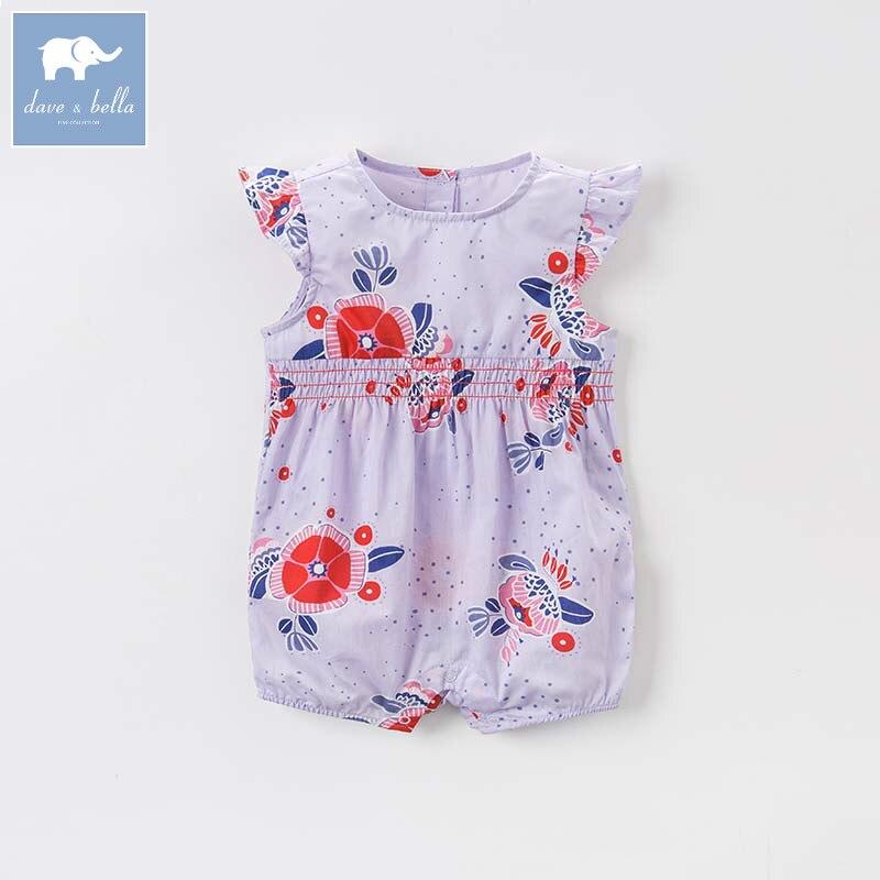 Dave bella newborn baby girls floral jumpsuits infant toddler clothes children summer romper 1 piece DBA6638