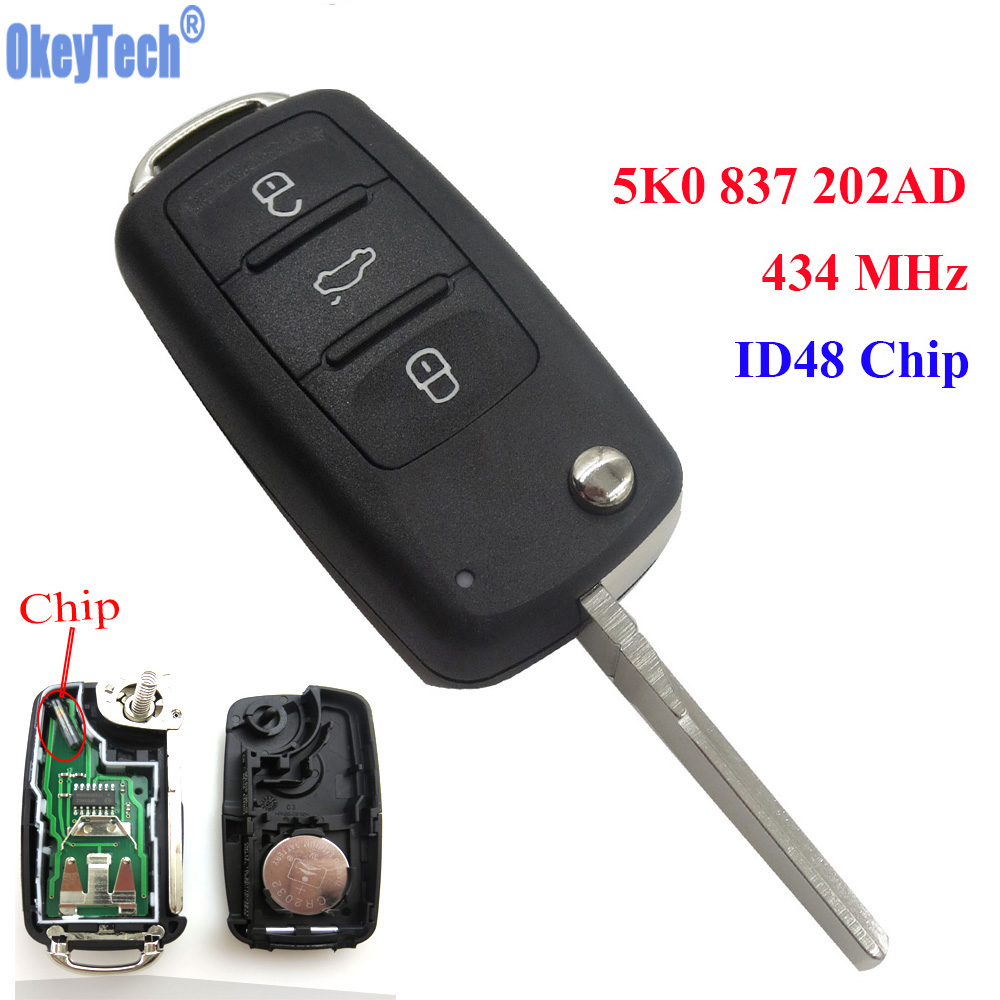 OkeyTech Auto Fernschlag-schlüsselanhänger 434 MHz Span id48 für VW/Volkswagen New Bora Neue POLO Sagitar Touran 5KO 837 202AD 5K0837202AD