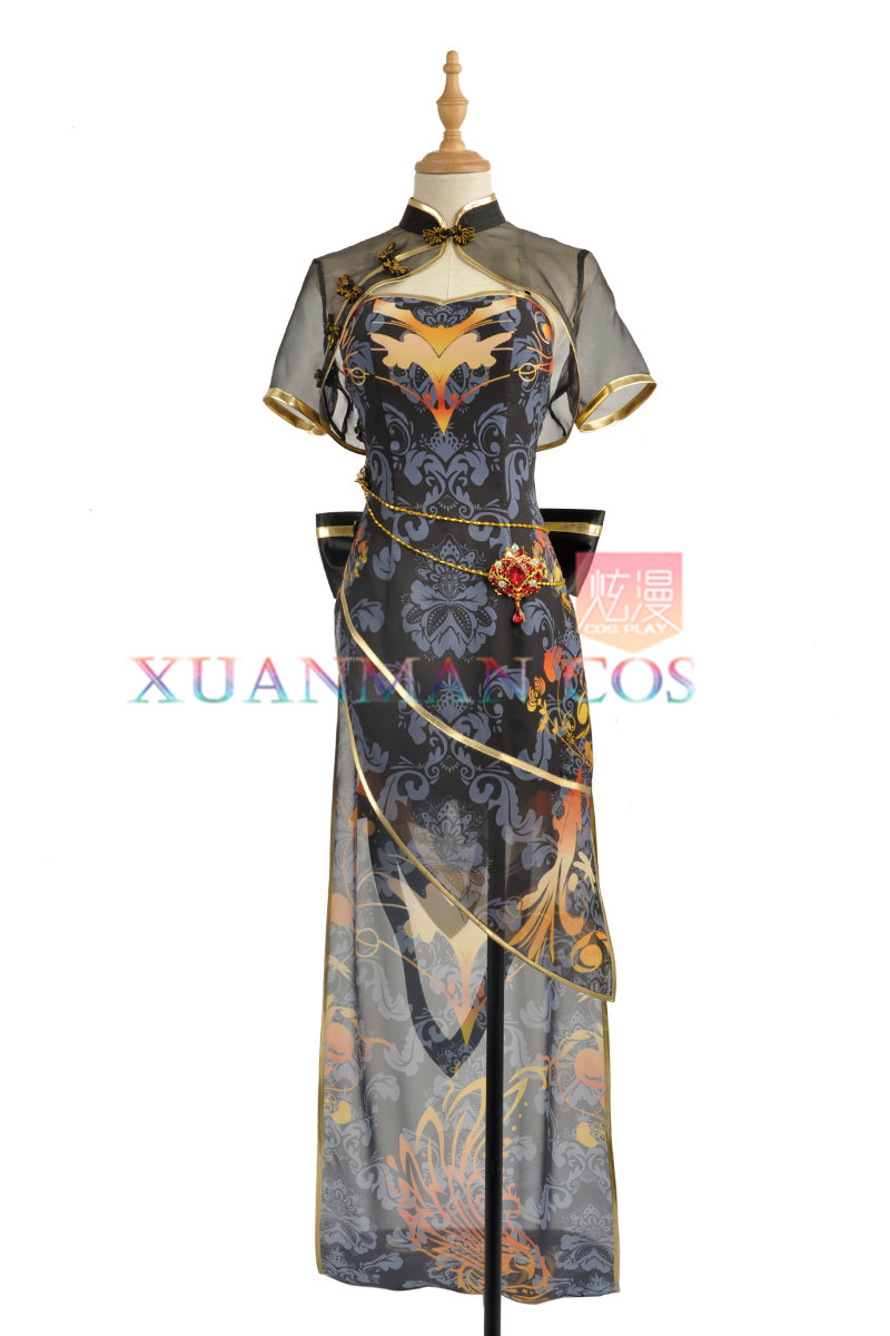 Vocaloid Luo Tianyi cosplay costumes High Low Asymmetric Black Canary cheongsam