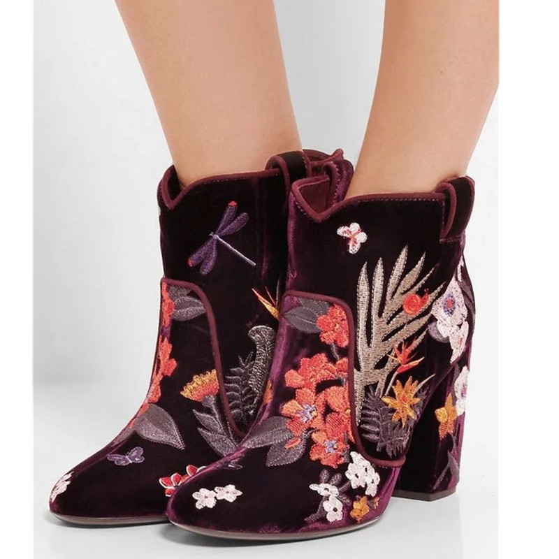 2017 New Arrival Autumn Winter Women Boots Fashion Embroidery Chunky High Heels Round Toe Ankle Boots Shoes Woman Plus SIze women irresistible suede color patchwork ankle boots round toe chunky heels classic side zip short boots new arrival this year