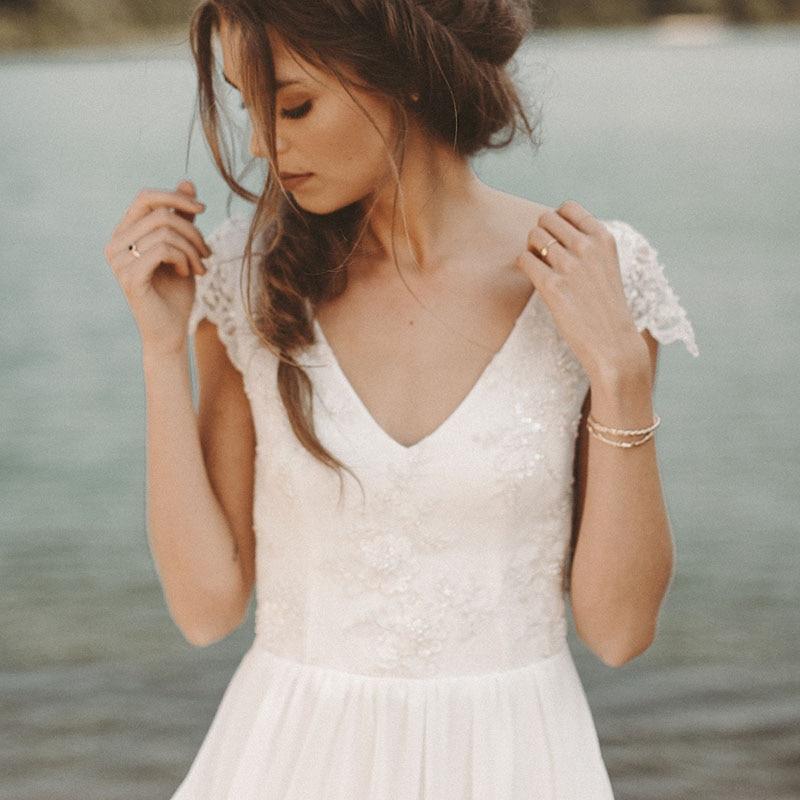 1ac084b6f0 Νυφικά φορέματα LORIE Beach Wedding Dress V Neck Cap Sleeve A-Line Chiffon  Skirt Lace top Open Back Boho Bride Dress Wedding Gown Free Shipping