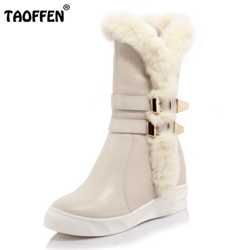 TAOFFEN Women Genuine Leather Flats Boots Women Thick Fur Metal Zipper Short Boots Women Warm Shoes Women Footwears Size 35-39 taoffen women genuine leather flats snow boots women metal buckle mid calf boots warm fur shoes for women footwears size 34 39